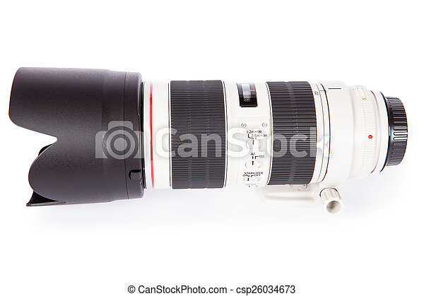digital camera lens isolated on white - csp26034673