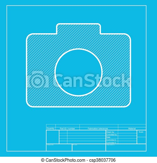 Digital camera sign white section of icon on blueprint vector digital camera sign white section of icon on blueprint template csp38037706 malvernweather Images