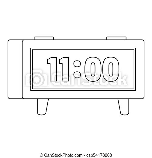 Digital clock icon, outline style. - csp54178268