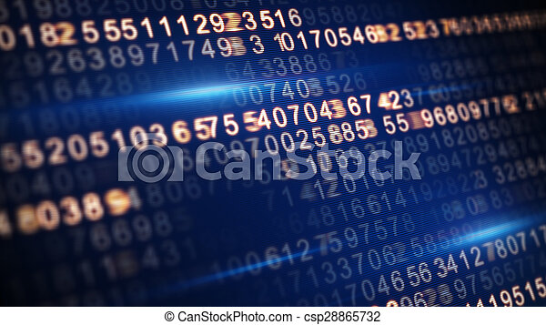 digital code on screen selective focus - csp28865732