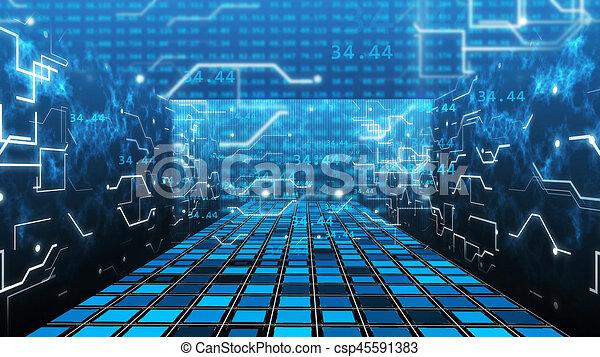 3d Rendering Of Digital Computer Grid Matrix Room