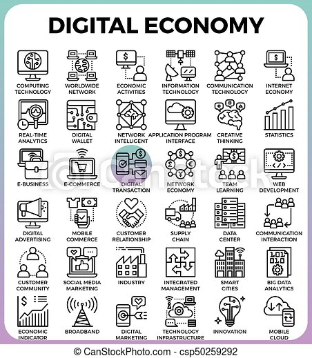 Íconos económicos digital - csp50259292