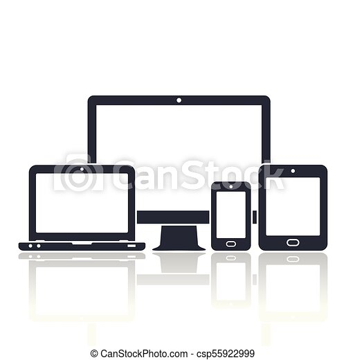 Digital devices icons. Smart phone, tablet, laptop and computer monitor. Vector illustration of responsive web design. - csp55922999