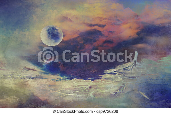 Digital drawing of a science fiction landscape with a moon - csp9726208