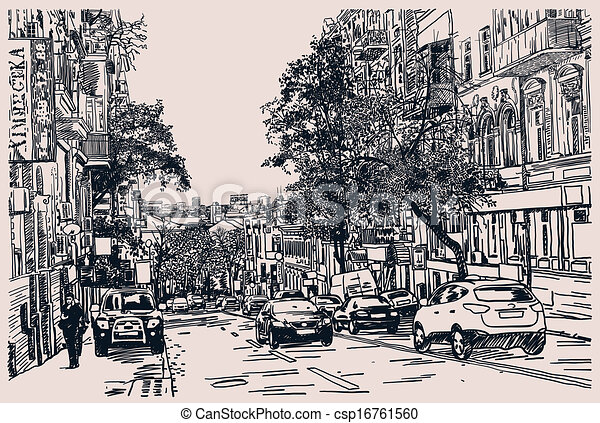 Line Art City : Digital drawing of city traffic engraving style clip art vector
