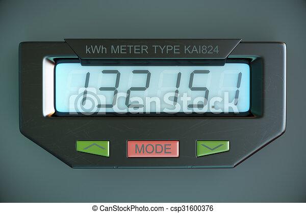 Digital electricity meter showing household consumption. power meter watt energy KWh - csp31600376