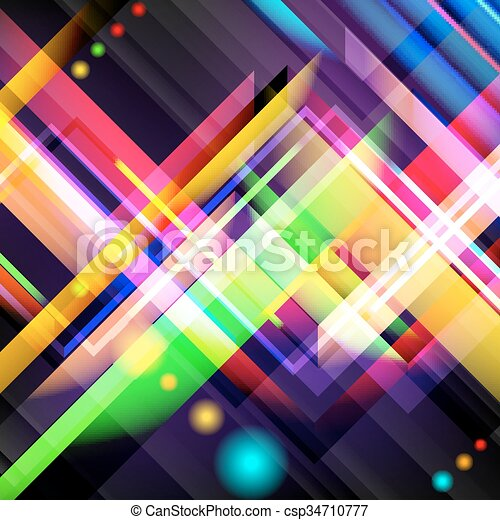 Digital generiertes Bild von bunten Licht und Streifen. - csp34710777