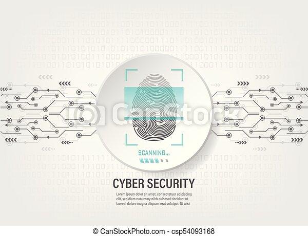 Digital Fingerprint Scan on binary code background - csp54093168