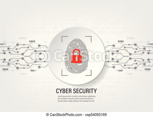 Digital Fingerprint Scan on binary code background - csp54093169