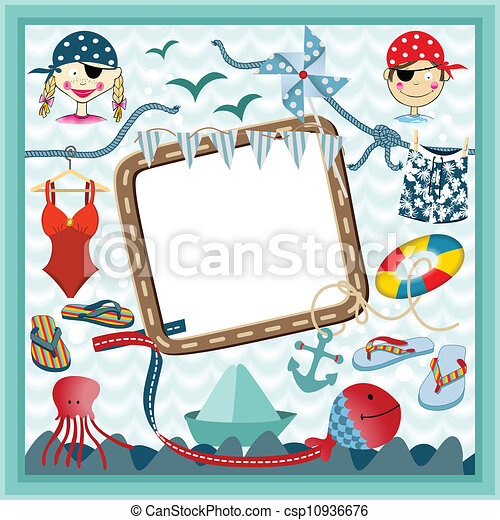 Digital frame nautical pirates - csp10936676