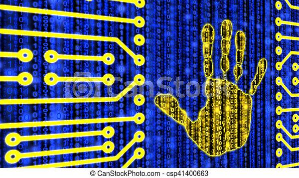Digital Handprint On Datastream Circuit Board