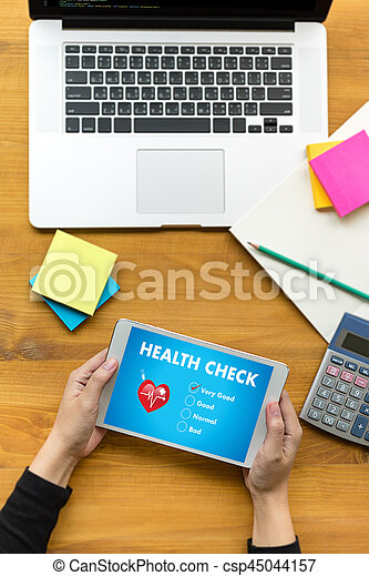 Digital Health Check Healthcare Concept doctor working with computer interface as medical - csp45044157