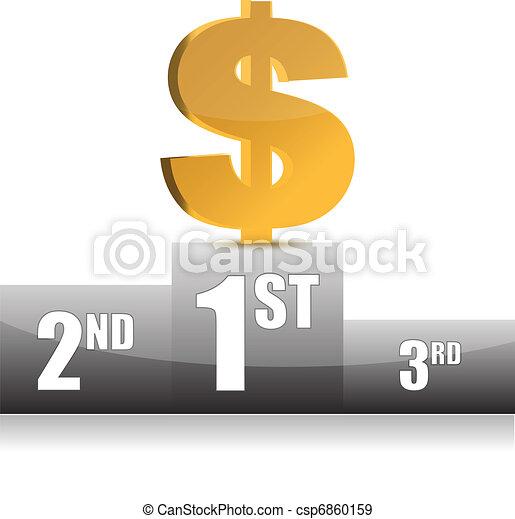 digital illustration of dollar win  - csp6860159