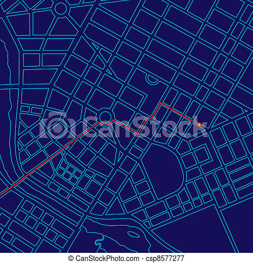 Car Tracking Device >> Digital map tracking with gps. Digital map tracking traveler with gps through generic urban city.