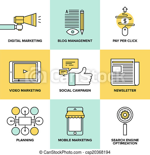 Digital marketing and advertising flat icons - csp20368194