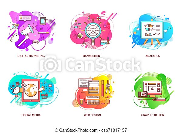 digital marketing and management web design set digital marketing vector computer with application for web design and can stock photo