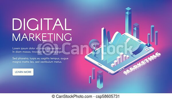 digital marketing isometric vector illustration digital marketing vector illustration of business market research and https www canstockphoto com digital marketing isometric vector 58605731 html