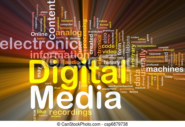 Digital media background concept glowing - csp6879738