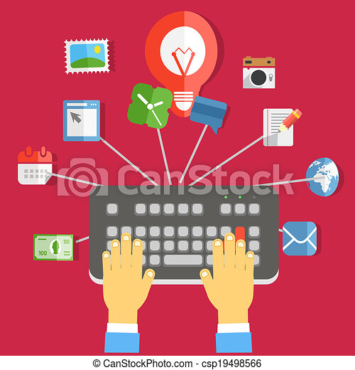 Digital media industry. Flat design concept - csp19498566