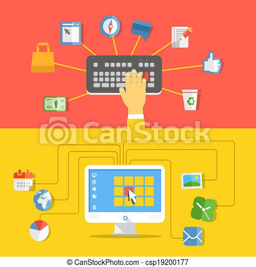Digital media industry. Flat design concept - csp19200177