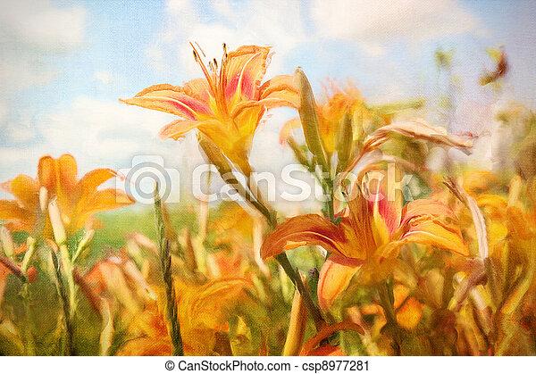 Digital painting of orange daylilies - csp8977281