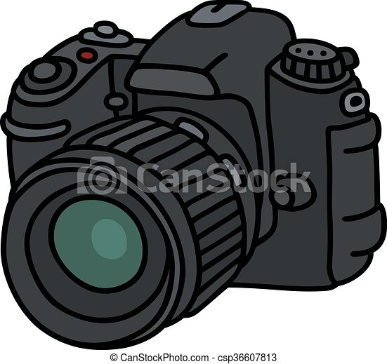 Digital photographic camera. Hand drawing of a digital ...
