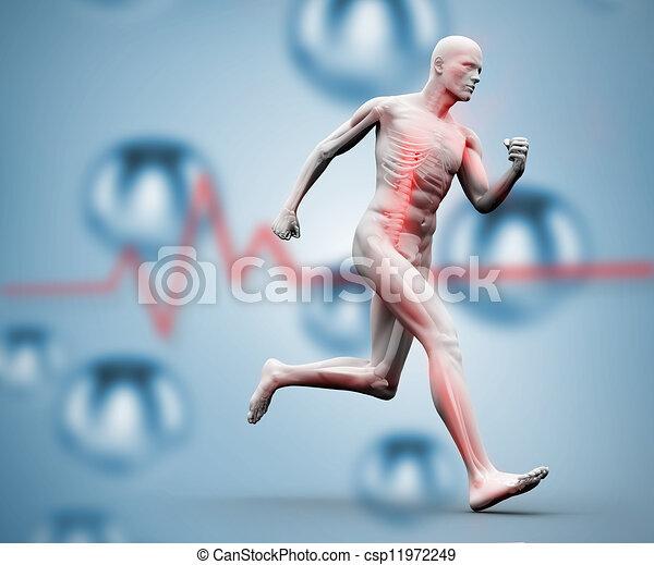 Digital skeleton running on a digit - csp11972249