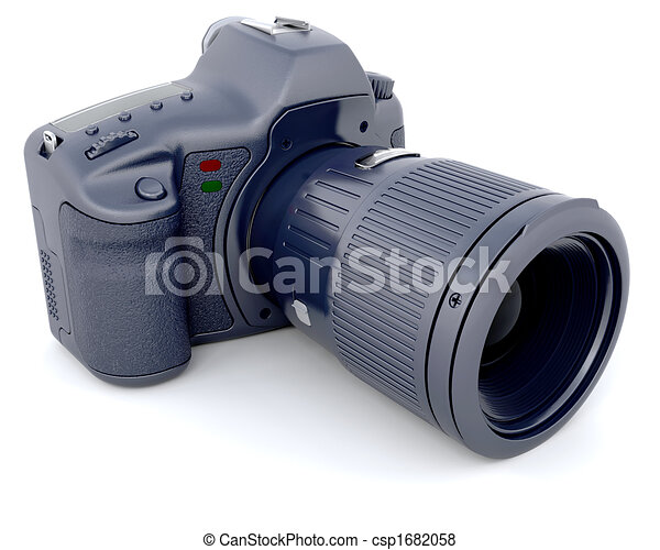 Digital SLR Camera with Telephoto Zoom Lense - csp1682058
