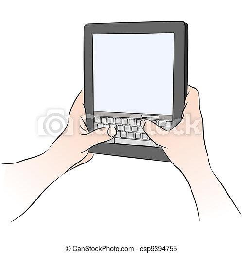 Digital Tablet Device Keyboard Texting - csp9394755