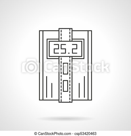 Digital Thermostat Flat Line Vector Icon Symbol Of Digital