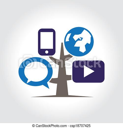 Digital tree icon logo template. - csp18707425