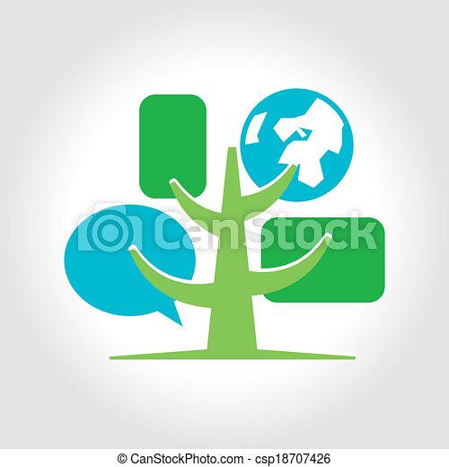 Digital tree icon logo template. - csp18707426