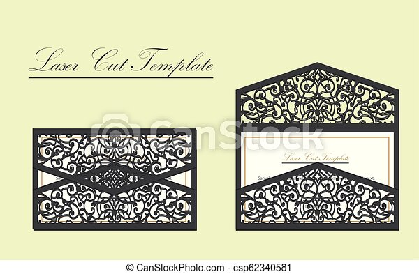 Digital Vector File For Laser Cutting The Envelope Is An Invitation Card