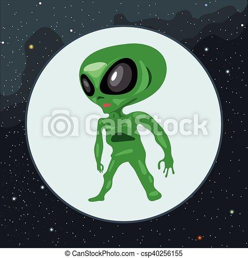Digital vector green alien scary creature - csp40256155