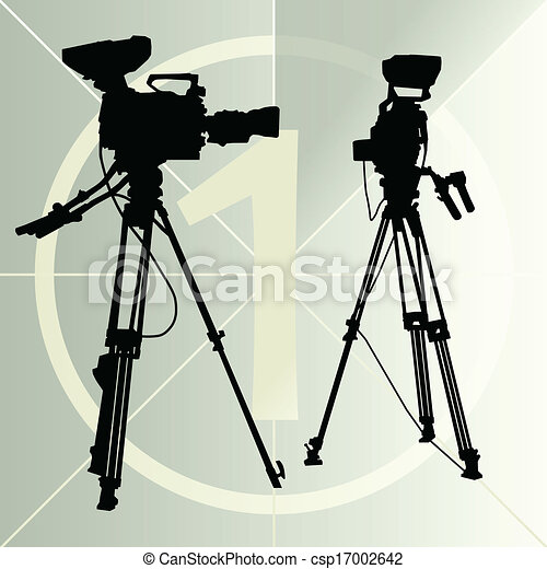 Digital video camera on the tripod and film countdown number - csp17002642