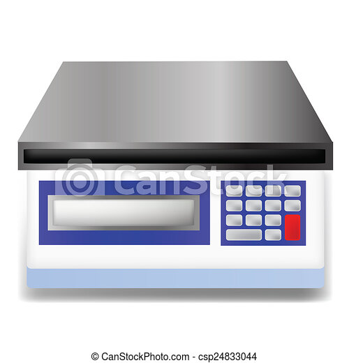 Illustration with digital weighing scale on white for Free scale drawing software
