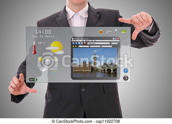Digital world concept graphic, presentation made by businessman on futuristic user interface - csp11922708