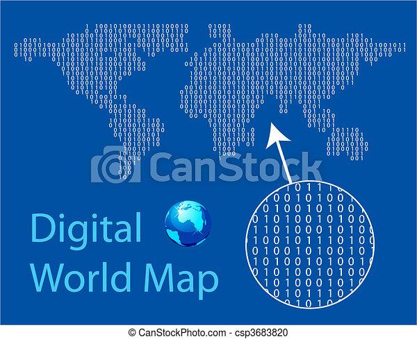 Digital world map - csp3683820