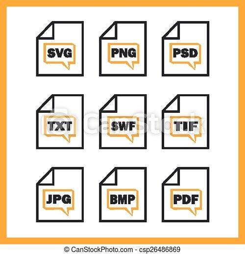 digitale , set, formaten, het indiceren, iconen - csp26486869