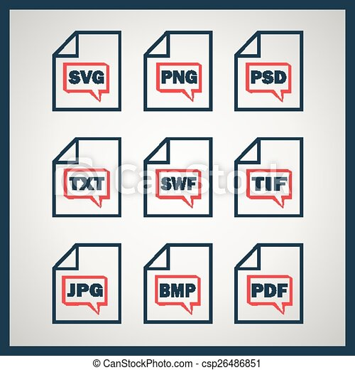 digitale , set, formaten, het indiceren, iconen - csp26486851