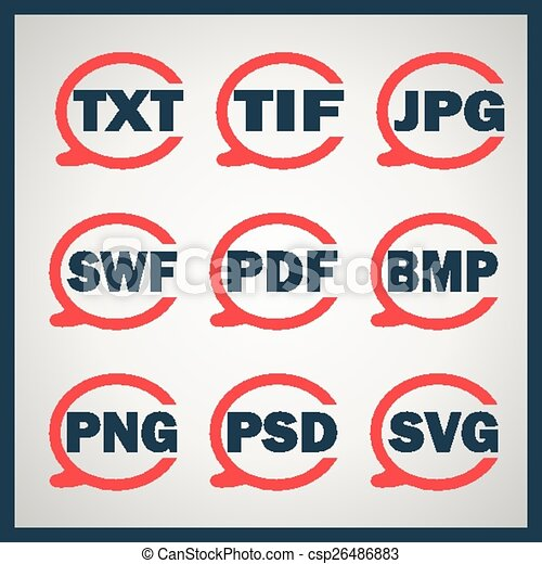 digitale , set, formaten, het indiceren, iconen - csp26486883
