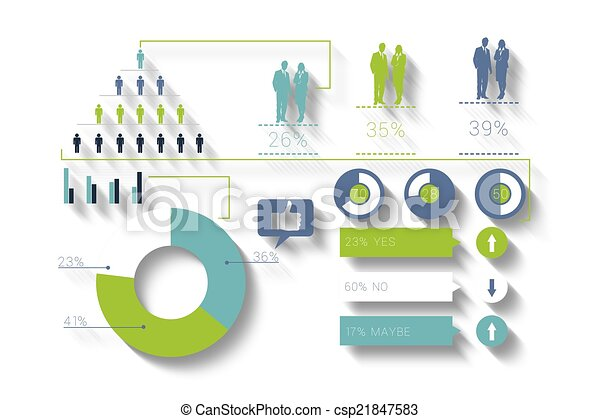 Digitally generated blue and green business infographic - csp21847583