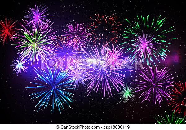 Digitally generated firework design - csp18680119