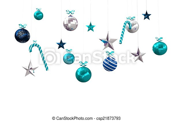 Digitally generated hanging christmas decorations - csp21873793
