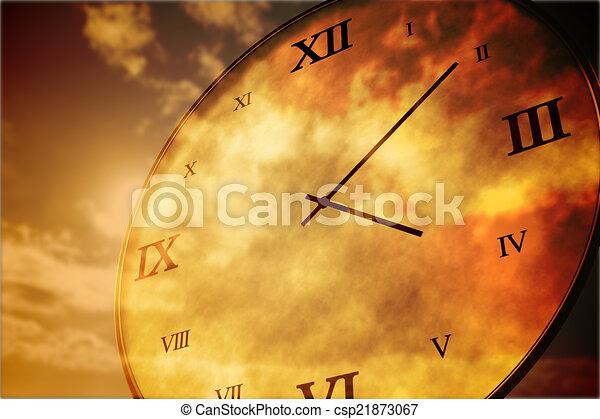 Digitally generated roman numeral clock - csp21873067