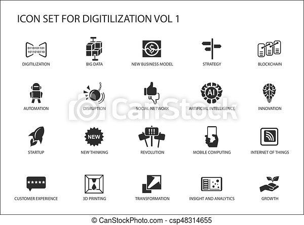 Digitilization Vector Icons For Topics Like Big Data Blockchain Automation Customer Experience
