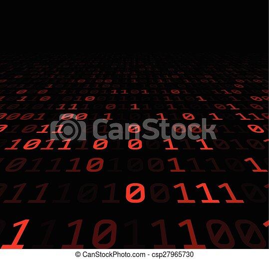 digits., arrière-plan rouge, binaire - csp27965730