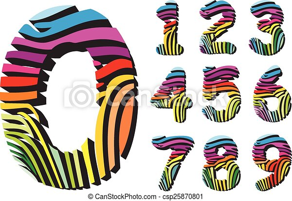 digits with color background zebra art font numbers with color rh canstockphoto com