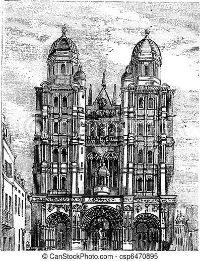 Dijon Cathedral in Burgundy, France, vintage engraving - csp6470895