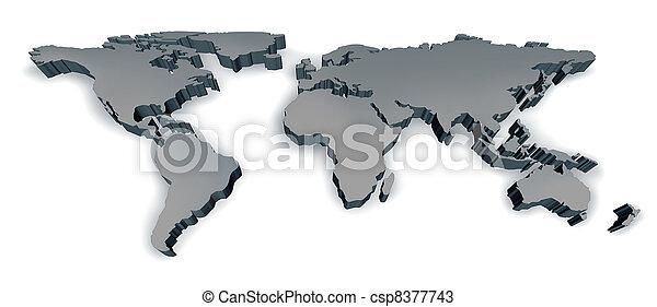 dimenzionális, világ, három, térkép - csp8377743